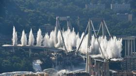 Bridge that collapsed & killed 43 in Genoa last year is BLOWN UP (VIDEO)