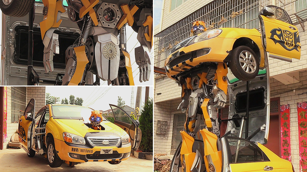 Chinese toy-maker creates LIFE-SIZE & MOVING transformer from broken car