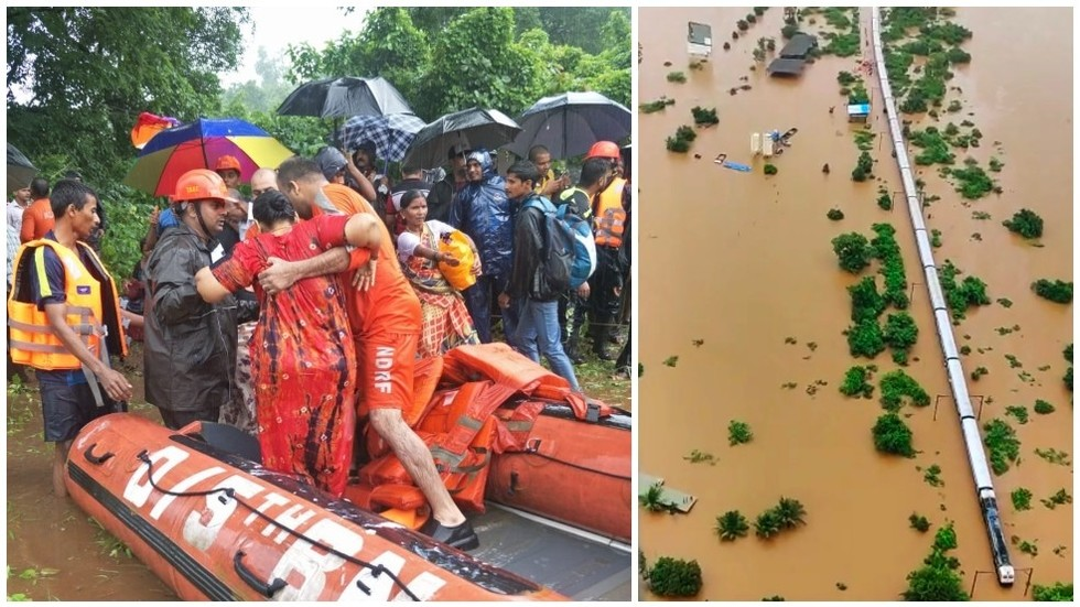 Army & navy called in to save 700 people stranded on flooded train in India (VIDEOS, PHOTOS)