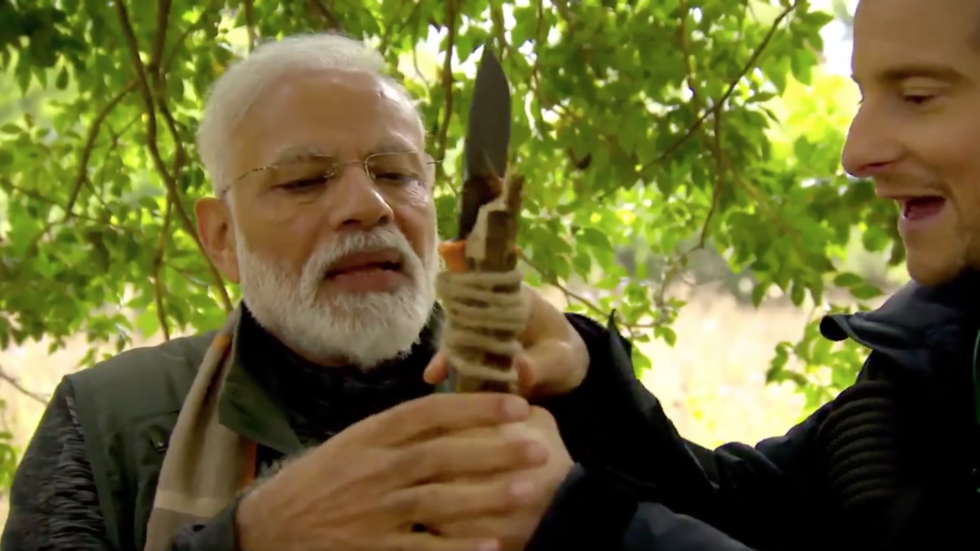 'My job is to keep you alive': Bear Grylls takes Indian PM Modi on jungle adventure