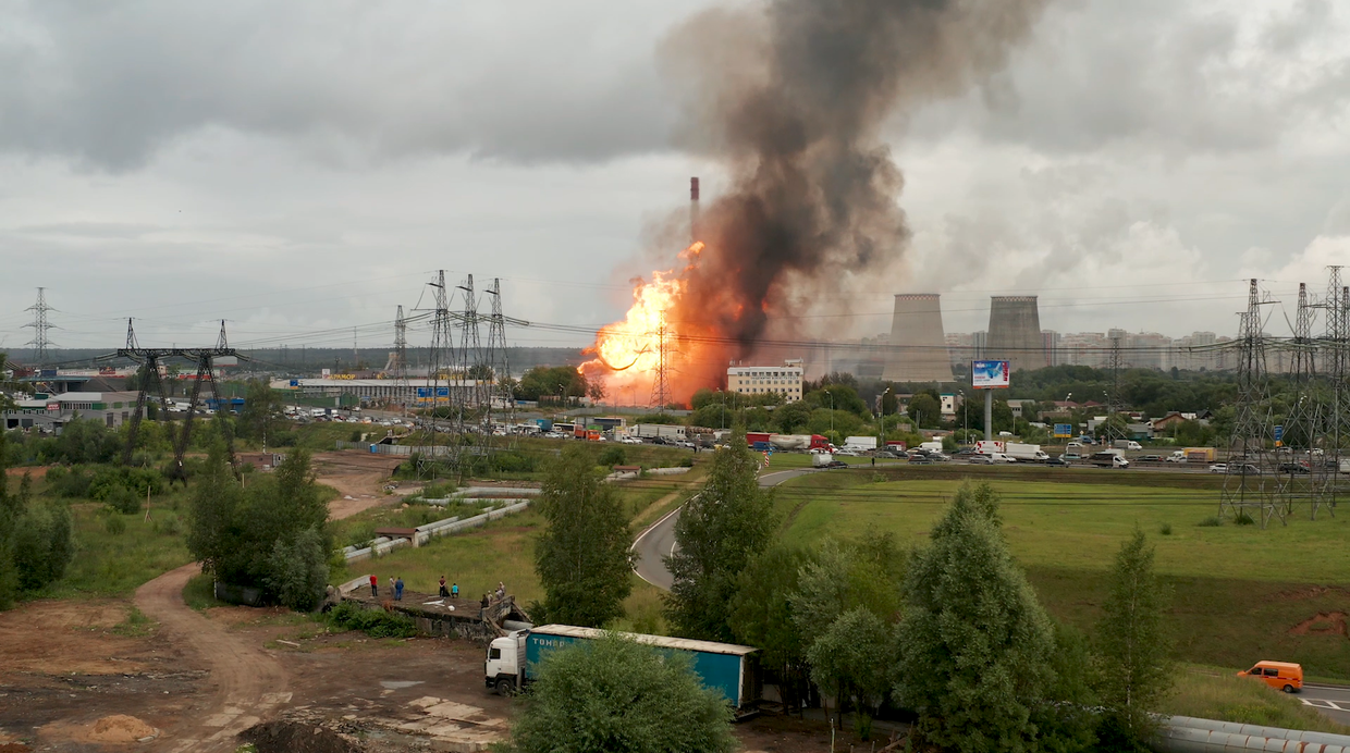 Image result for Enormous fire engulfs electricity plant in Moscow region