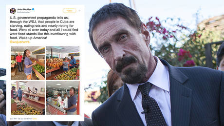 Main image: John McAFee, file photo © Global Look Press/Xinhua/Luis Echeverria; Inset: screenshot © Twitter / John McAfee
