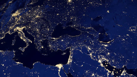 FILE PHOTO: Part of Europe and North Africa and the Middle East at night © AFP / NASA