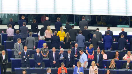Farage's Brexit Party MEPs turn their backs on EU anthem during parliament opening ceremony