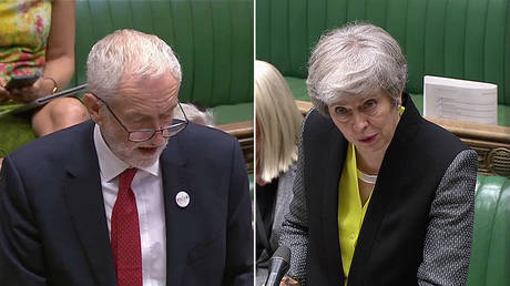 Corbyn told he's 'ALL MOUTH & TROUSERS' by Theresa May in hilarious mishap (VIDEO)