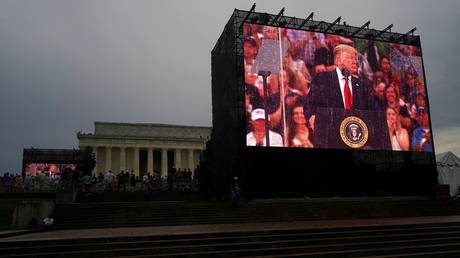 US President Donald Trump speaks during the Fourth of July celebration at the Lincoln Memorial in Washington, DC