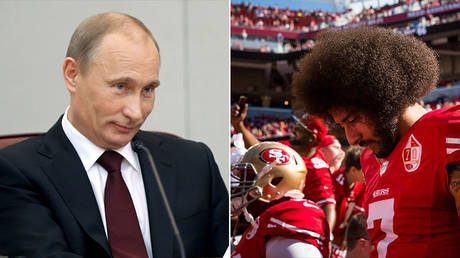 Russian President Vladimir Putin and former NFL quarterback Colin Kaepernick © Reuters / RIA Novosti and Loren Elliott