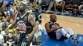 'The 1st time I've seen Floyd dropped!' Mayweather knocked down in charity basketball game (VIDEO)