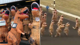 Greatest race ever? 'World's fastest T-Rex' contest takes place at racetrack in Washington (VIDEO)