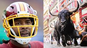 NFL star Josh Norman performs insane LEAP at 'Running of the Bulls' festival in Spain (VIDEO)