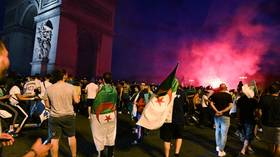 Paris riot police deployed to stop looting & vandalism by Algerian football fans (VIDEOS)