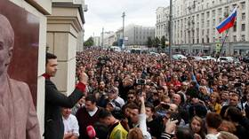 Demonstrators rally for disqualified independent candidates in Moscow city election