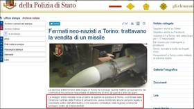 Italy police ALTER news on neo-Nazi missile for Ukraine after MSM misreport busted cell as pro-rebel