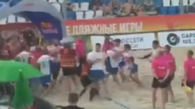 Sandbags! Russian Beach Rugby Champs match between Dagestan & Moscow ends in mass brawl (VIDEO)
