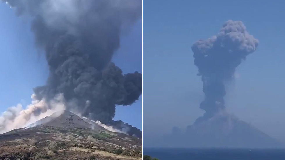 Italy's Stromboli volcano erupts in huge explosion spewing lava & ash (VIDEOS)