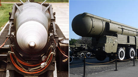 The INF-banned munitions: (L) Pershing II missile © Global Look Press / Rüdiger Schrader; (R) Soviet SS-20 IRBM © Wikipedia