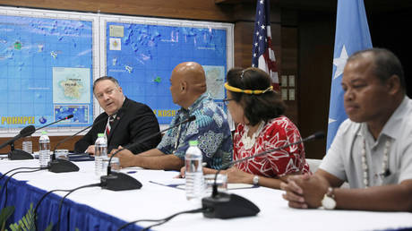 US Secretary of State Mike Pompeo, Federated States of Micronesia President David Panuelo, Marshall Islands President Hilda Heine and Palau's Vice President Raynold Oilouch meet in Kolonia, August 5, 2019.