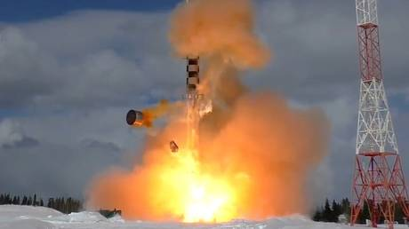 FILE PHOTO: It has not been revealed what type of missile was involved in the classified engine test. Pictured is a test of Russia's new heavy intercontinental ballistic missile, the Sarmat, at the northern Plesetsk test range.