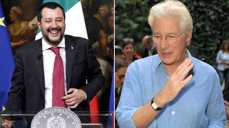 Matteo Salvini (left) said he hopes Richard Gere (right) got a tan during his trip to a migrant ship. © Global Look Press
