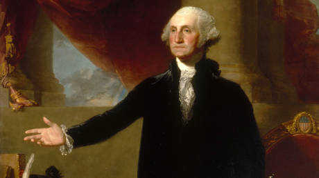 A portrait of George Washington (1796) by Gilbert Stuart.