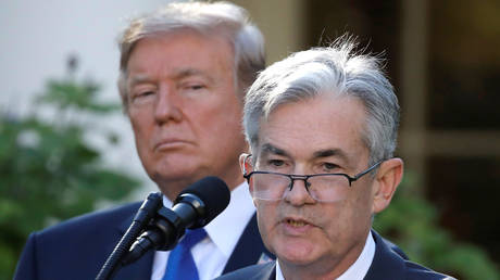 US President Donald Trump and Federal Reserve Chair Jerome Powell, at the White House in this November 2, 2017 file photo