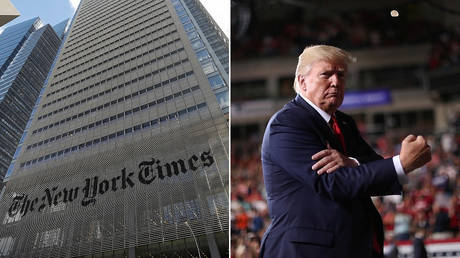 The New York Times (L) US President Donald Trump (R) ©  REUTERS/Shannon Stapleton;  REUTERS/Jonathan Ernst