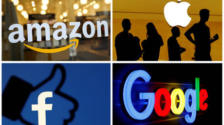 FILE PHOTO: The logos of Amazon, Apple, Facebook and Google © Reuters
