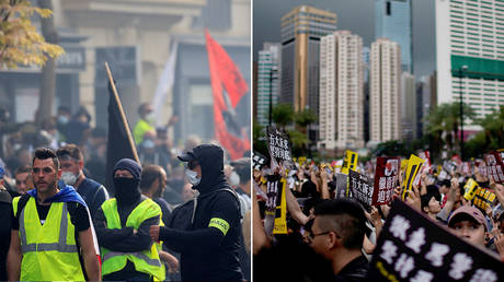 (L) Yellow vests protesters in Paris © REUTERS/Gonzalo Fuentes; (R) Anti-extradition bill protesters march to demand democracy and political reforms, inHongKong ©  REUTERS/Aly Song