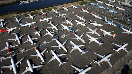 Dozens of grounded Boeing 737 MAX aircraft are seen parked in an aerial photo at Boeing Field in Seattle, Washington, US. File photo.