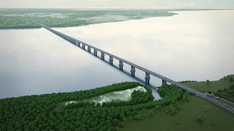 Rendered image of a bridge project over the Volga in Samara region.