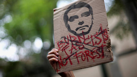 A placard during a demonstration against Amazon forest fires in Mexico City.