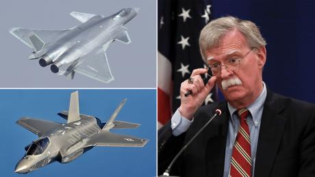 (top left) J-20 © Wikimedia Commons; (bottom left) F-35 © Wikimedia Commons; (right) © REUTERS/David Mdzinarishvili