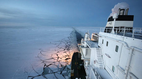 FILE PHOTO: The Ob River tanker sailing in the Arctic © AFP / Gazprom