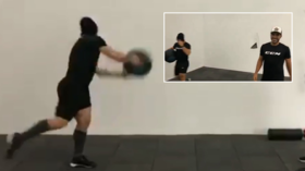 Train hard, train smart: KHL player smashes wall during practice drill (VIDEO)