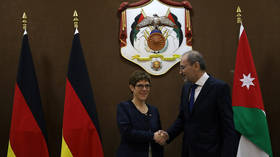German defense minister reaffirms support for 2-state solution to Mideast conflict on Jordan visit