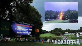 WATCH: Frightening scenes as golf fans injured when lightning strikes course in Atlanta