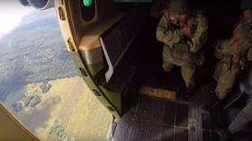 Bodycam captures parachute jump at international airborne drill in Russia (VIDEO)