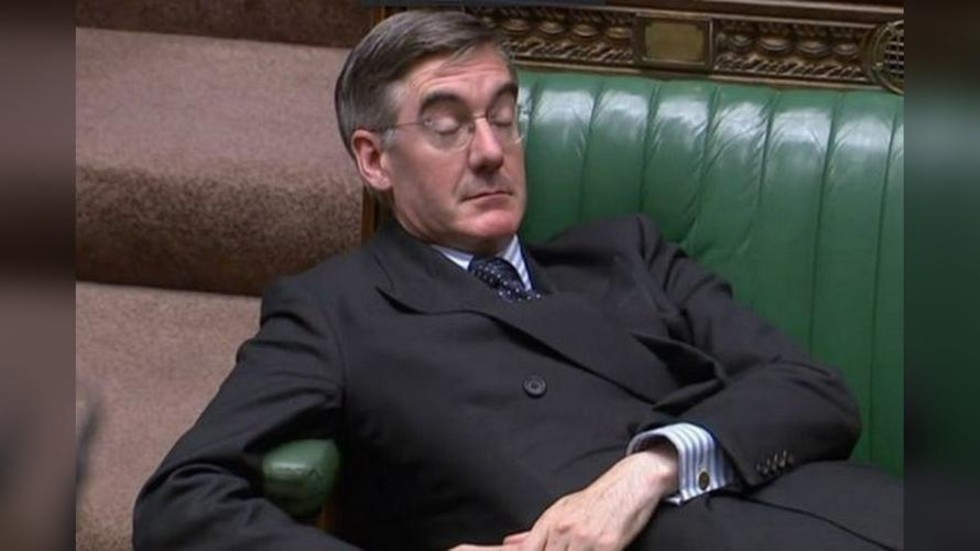 'Lying Tory' Rees-Mogg trolled with giant image beamed