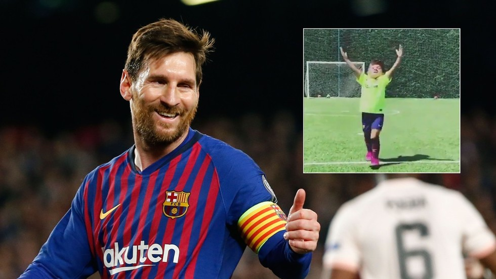Chip off the old block! Mateo Messi adopts dad's trademark celebration in adorable VIDEO