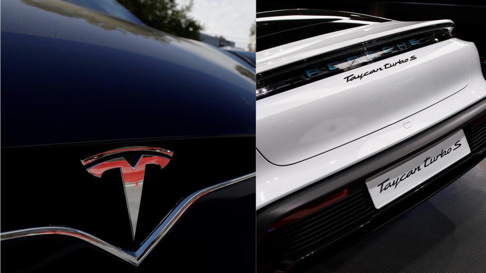 Porsche fans delight as sportscar laps broken-down Tesla during track test (VIDEO)