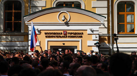 Rally against alleged violations ahead of elections to Moscow City Duma in Moscow