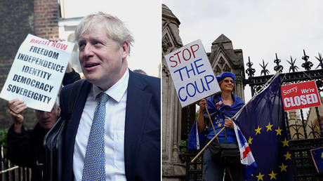(L) PM Boris Johnson © Reuters / Hannah McKay; (R) A protester holds signs during an anti-Brexit protest © Reuters / Henry Nicholls