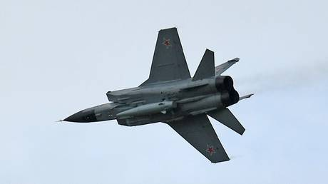 Russian MiG-31 fighter jet is seen carrying a Kinzhal hypersonic missile.