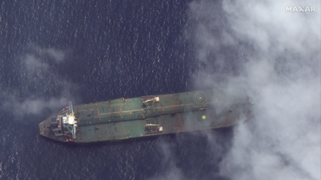 What appears to be the Iranian oil tanker Adrian Darya 1 off the coast of Tartus, Syria, is pictured in this September 6, 2019 satellite image provided by Maxar Technologies. © Maxar Technologies / Reuters