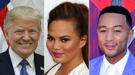 (L) President Donald Trump; (M) Chrissy Teigen; (R) John Legend © Wikimedia Commons