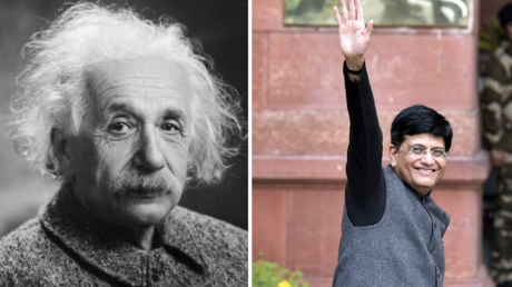 Piyush Goyal (right) gave Albert Einstein (left) credit for discovering gravity. © Global Look Press/ Wikipedia