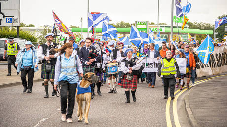 Scottish Indy march in Alloa, UK. 14 Sep 2019 © Global Look Press/ZUMAPRESS/Stewart Kirby