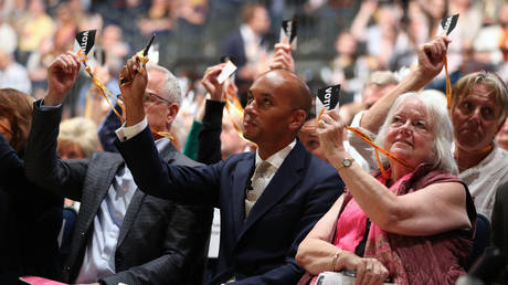 Chuka Umunna at the Liberal Democrats conference in Bournemouth. © Getty Images / PA Images / Jonathan Brady