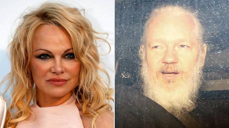 (L) Pamela Anderson © Reuters / Eric Gaillard; (R) WikiLeaks co-founder Julian Assange © Reuters / Henry Nicholls