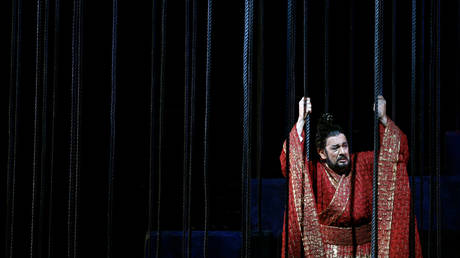 "Placido Domingo performs a scene from the opera ""The First Emperor"" at the Metropolitan Opera House in New York, December 18, 2006."